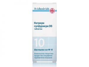 dr. schussler salts,n 10, natrium sulfuricum d6