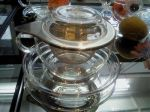 CUP FOR INFUSION TEA FOR ONE, 0,3 L WITH GLASS SAUCER AND METAL FILTER, JENA GLASS